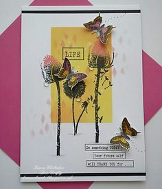 Teasel, Dandelion and Butterflies from Bee Crafty Butterfly Cards, Flower Cards, Art Trading Cards, Floral Printables, Distress Oxides, Cursed Child Book, Art Journal Inspiration, Sympathy Cards, Junk Journal