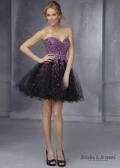 Mori Lee 9286 - Black Strapless Beaded Tulle Prom Dresses Online