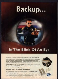 1997 COLT Pony .380 Pistol Police Officer Blink of an Eye PRINT AD #Savage