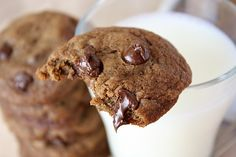 Kahlua and Espresso are added to this fudgy chocolate chip cookie recipe. Photograph included.