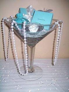 Martini glass centerpiece.