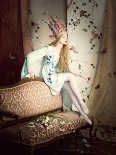 A dreamy, romantic fashion shoot featuring the clothing collaboration between Nonoo and de Gournay
