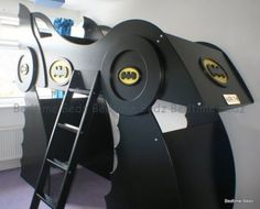 Full over Full custom batman bed with slide storage towers & pull