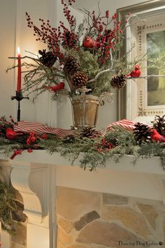Pretty Christmas arrangement....would be a beautiful centerpiece