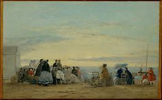 Eugène Boudin (French, 1824–1898). On the Beach, Sunset, 1865. The Metropolitan Museum of Art, New York. The Walter H. and Leonore Annenberg Collection, Bequest of Walter H. Annenberg, 2002 (2003.20.2) | Boudin's masterful and convincing representation of light effects, such as the sunset in this picture of 1865, profoundly influenced the young Claude Monet. The two artists worked together on the Normandy coast the previous summer.