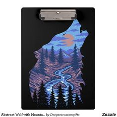 Abstract Wolf with Mountain Scene Clipboard