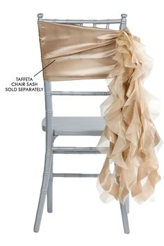 Curly Willow Chair Sash - Champagne (new design) ● As Low as $1.68 ● Available from www.cvlinens.com