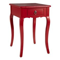 Red Louis XV Side Table - Feminine and curvy, our exclusive Louis XV side table is a real knockout. In a modern high- gloss red, our tribute to Rococo has cabriolet legs and antique brass decorative hardware. But it's not all about good looks. The single drawer provides quick access to paper, pens, reading materials, or a deck of cards. Game of Kings anyone?