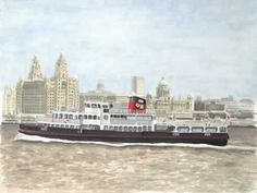 "Liverpool ferry boat The ""Royal Iris"" crossing the River Mersey on her way from Birkenhead to the Liverpool landing stage. The Liverpool waterfront can be seen in the background. Medium: acrylic on 12"" x 18"" watercolor paper."