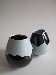 'Monochrome Rocking Bowls' Height 16 cm. Limoges Porcelain by Chris Keenan