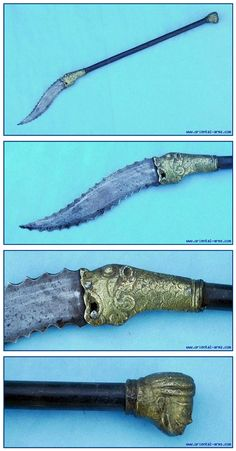 The Bhuj, also known as Kuttai (literally: to cut) is a rare type of weapon that was known In India. The name Bhuj, may have come after the city of Bhuj previously the capital of Kutch and now part of Gujaret. Bordering the old region of Sind. It has a typical short heavy blade, more of a short machete or an axe rather than a sword, mounted straight on a steel or brass haft. 7 inches serrated blade and steel haft. The rear end has brass figure. The haft is 15 inches long, 26 inch total.