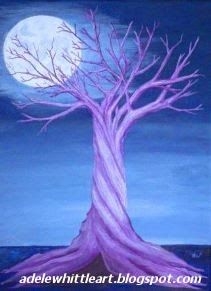Twisted tree in moonlight