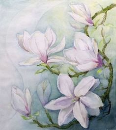 Magnolias (w/c) Postcards, Greetings Cards, Art Prints, Canvas, Framed Pictures, T-shirts & Wall Art by Karen Armitage