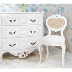 Provencal Heart White Chair | Bedroom Chair