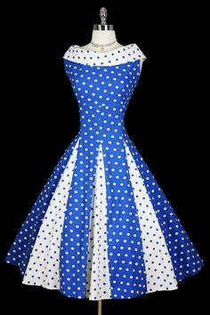 Polka Dot •~• blue & white dress, 1950s  I think I had a Barbie paper doll with a dress like this, circa 1968.