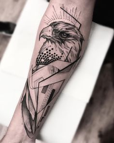 Sketch and Geometric Tattoo of Eagle, 12 Tattoos, Eagle Tattoos, Mini Tattoos, Black Tattoos, Sleeve Tattoos, Tattoos For Guys, Tattos, Eagle Tattoo Arm, Sketch Tattoo Design