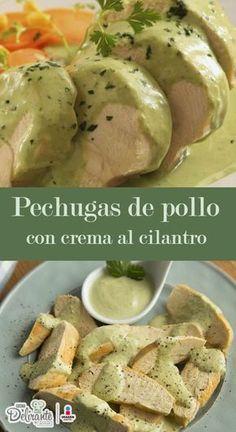 pollo con crema de cilantro, una receta para una cena diferente.