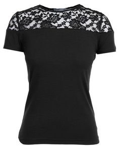Black as the night and filled with mysterious delights, Utopia\'s Tee with Lace Inset will give you that seductive vibe. A complement to your evening outfit, this tee will put your other casual tops to shame with its feminine appeal. Wear it for an evening of club hopping with your like-minded friends for an unforgettable night. Style as pictured.