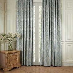 TWOPAGES Louvre Collection Luxury Traditional Blue Jacquard Flower Grommet Top Energy Saving Curtain (One Panel) Multi Size Available Custom Curtains And Draperies, Cheap Curtains, Floral Curtains, Blue Curtains, Lined Curtains, Blackout Curtains, Unique Ceiling Fans, Outdoor Ceiling Fans, Botanical Bedroom