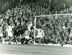 9th April 1965. Jeff Astle (not in picture) heads home West Brom second goal against Sheffield Wednesday in a 4-2 win for the Baggies. Astle's partner in crime Clive Clark was on alert for any rebound.