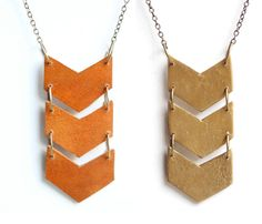 Triple Chevron Necklace - would be easy w the leather scraps at the building exchange