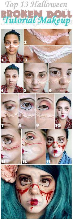 Top 13 Halloween Broken Doll Tutorial Makeup...eyebrows,dark brown eyeshadow,eyelids,base color doll eye,gigantic doll,eye eyeliner dark color to match the makeup Eye,mascara,