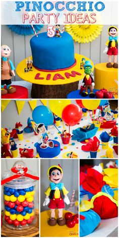 A boy birthday party with Pinocchio, Gepetto and Jimmy Cricket in red, yellow and blue!  See more party ideas at CatchMyParty.com!