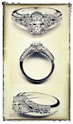 Vintage Style Oval Diamond Engagement Ring