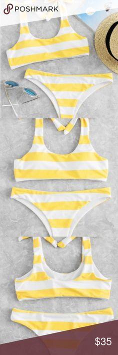 Yellow Knot Striped Bikini Set NWOT Super cute yellow bikini! Striped, bows, size medium. Great quality materials, selling because it didn't fit. Only tried on Swim Bikinis