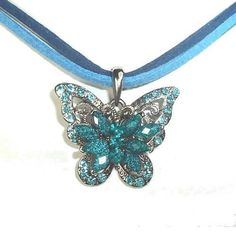 Vintage Swarovski Element Crystal Pendant Necklace Blue Butterfly with Choker WLSTORE N32266a