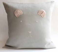 Modern Baby Bear Pillow Cover Toddler Pillow Kids by LulueFrufru | baby room decor | nursery decoration | gray