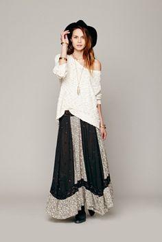 $198 Free People Womens Heirloom Maxi Skirt