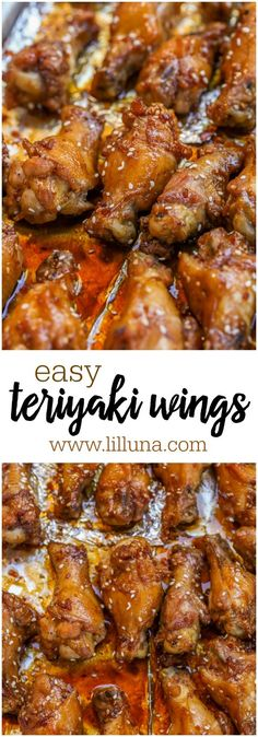 Easy Teriyaki Wings – these delicious chicken wings only take TWO ingredients! … Easy Teriyaki Wings – these delicious chicken wings only take TWO ingredients! It doesn't get any easier than that! Teriyaki Chicken Wings, Baked Chicken Wings, Chicken Wing Recipes, Chicken Thighs, Chicken Poppers, Chicken Gyros, Asian Chicken, Chicken Meals, Chicken Curry