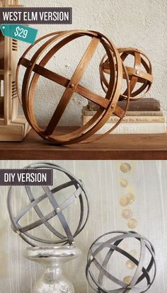 "Make some decorative wooden spheres. | 24 West Elm Hacks. ""An unlikely way to use embroidery hoops."""