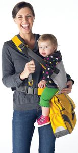 Child carrier AND diaper bag - Sidekick is the first and only full-size diaper bag with a built in child carrier. Adjustable strap allows you to carry baby at either hip. Includes spacious compartments and pockets for all of baby's and mom's things, such as cell phone and baby bottle pockets, bottle/snack pouch, and changing pad with sleeve.