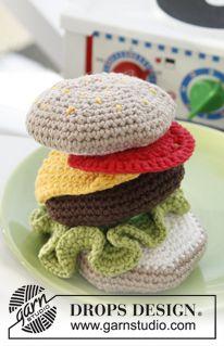 """Haha, morsomt xD Heklet DROPS hamburger i """"Paris"""" ~ DROPS Design"""