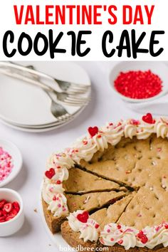 Valentine's Day Cookie Cake is the ultimate dessert recipe. Whip up this cookie cake that is buttery sweet, and loaded with flavor. Fruit Cookies, Cocoa Cookies, Nutella Cookies, Frosting Recipes, Dessert Recipes, Cookie Recipes, Desserts, Baked Bree Recipe, Cookie Cake Decorations