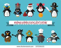 Penguin set vector illustration. Cartoon funny penguins different situations. Penguin clown, pirate, christmas santa, captain, sailor, cook.Cartoon penguin vector set illustration.Penguin vector birds