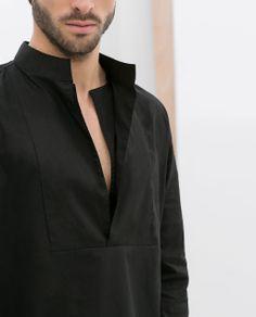 Moda Kimono, Chinese Shirt, Beauty Uniforms, Mens Kurta Designs, Mens Designer Shirts, Collar Designs, Tailored Shirts, Men Formal, Future Fashion