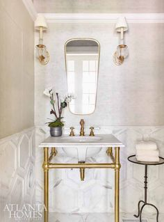 Atlanta Homes & Lifestyles' 2017 Southeastern Designer Showhouse - The Glam Pad Chic Bathrooms, Modern Bathroom, Half Bathrooms, Metal Sink, Brass Metal, Solid Brass, Atlanta Homes, Bathroom Inspiration, Bathroom Ideas