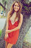 She's Oh So Popular Dress: Burnt Orange. LOVE the collar!