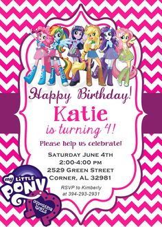 Equestria Girls Vertical My little pony Birthday by Rachellola