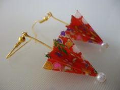 手染め友禅和紙使用 おりがみピアス イヤリング 赤い傘