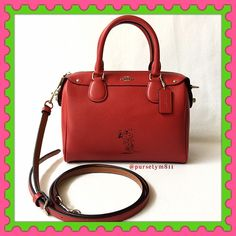 "Authentic Coach Limited Edition Leather Handbag % AUTHENTIC ✨ Gorgeous limited edition leather handbag from Coach Length 9 1/2"" Height 6 3/4"" Width 5"" w/ adjustable & detachable long strap! Very versatile! Crossbody, shoulder & top handle bag Color: Red❤️ with silver tone hardware. 2 interior pockets. Bottom feet for protection. Never used, tag attached. NO TRADE  FINAL PRICE ‼️ Coach Bags Satchels"