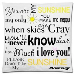 You Are My Sunshine Simplistic White Pretty Pillow Case (NO Insert) Great Gifts  Cover HD Both Sides Printing #Affiliate