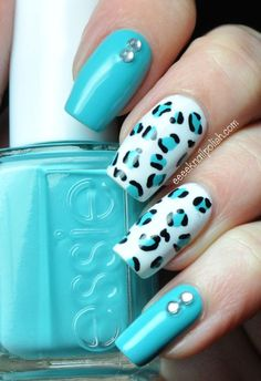 45 Inspirational Blue Nail Art Designs and Ideas - Nageldesign - Get Nails, Fancy Nails, Trendy Nails, Nail Polish Designs, Nail Art Designs, Cheetah Nail Designs, Leopard Print Nails, Leopard Prints, Animal Prints