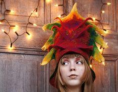 Carnival hat unique fancy felted hat with 3D elements by filcAlki, $125.00