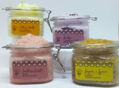 Spa Sugar Scrubs: Southern Scarlet Wine Scrub, Sugar & Spice with Honey, La'Rose, & Citrus Gold with Calendula. Sugar Scrubs, Calendula, Sugar And Spice, Rose, Scarlet, Preserves, Essential Oils, Spices, Southern