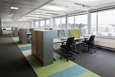 Lääkeyritys GlaxoSmithKlinen värikkäät toimitilat Espoon Matinkylässä. #toimisto #office #sisustus #design