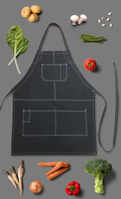 Chef Bib Apron. Contrast stitches for a modern look.
